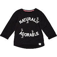 Mini girls black naturally adorable t-shirt