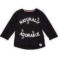 Mini girls black naturally adorable t-shirt