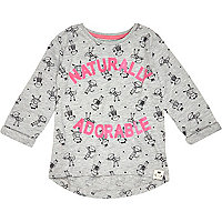 Mini girls grey naturally adorable t-shirt