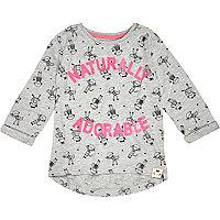 Mini girls grey naturally adorable t-shirt