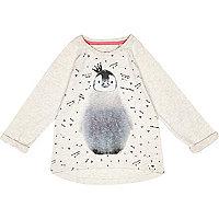 Mini girls cream penguin t-shirt