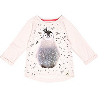 Mini girls pink burnout penguin t-shirt