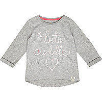 Mini girls grey lets cuddle t-shirt