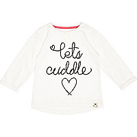 Mini girls cream lets cuddle t-shirt