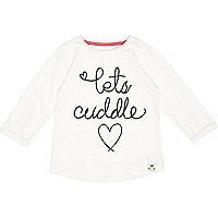 Mini girls cream lets cuddle t-shirt