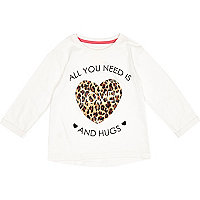 Mini girls cream all you need is love t-shirt