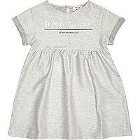 Mini girls grey metallic smock dress
