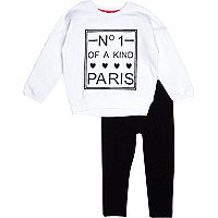 Mini girls white sweat and leggings set