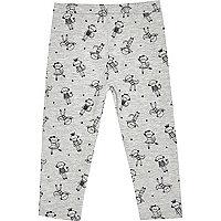 Mini girls grey monkey print leggings