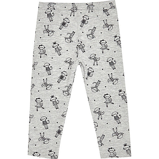 Mini girls grey monkey print leggings