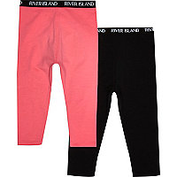 Mini girls black and pink leggings 2 pack