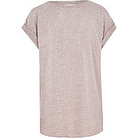 Girls pink metallic slouch top