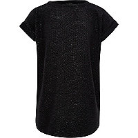 Girls black metallic slouch top