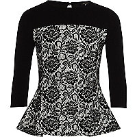 Girls black floral flock peplum top