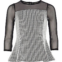 Girls black peplum mesh top