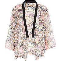 Girls pink tribal print kimono