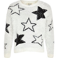Girls white star fluffy jumper