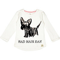 Mini girls white bad hair day t-shirt