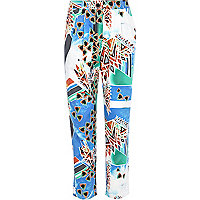Girls green multi digital print trousers