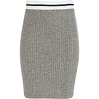 Girls grey sporty rib tube skirt
