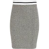 Girls grey sporty rib tube skirt