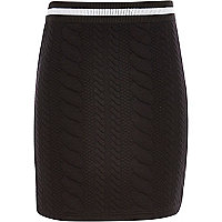 Girls black cable texture skirt