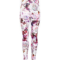 Girls pink digital rose print leggings