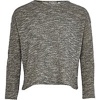 Girls grey lurex jumper