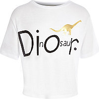Girls white dinosaur print slouch t-shirt