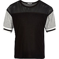 Girls black colour block sports t-shirt