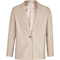 Girls gold metallic blazer