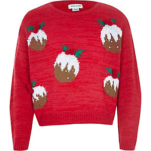 Girls red christmas pudding jumper
