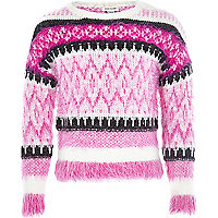 Girls pink fairisle fluffy jumper
