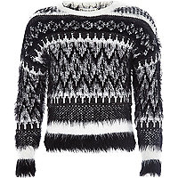 Girls black fairisle fluffy jumper