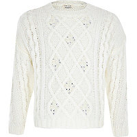 Girls cream embellished cable knit jumper