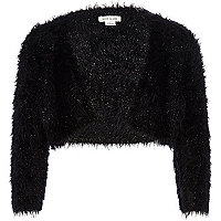 Girls black fluffy shrug cardigan
