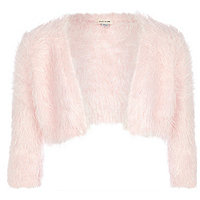 Girls pink fluffy shrug cardigan