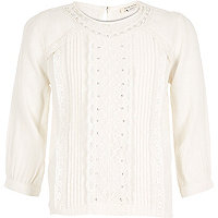 Girls cream lace diamante top