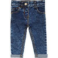 Mini girls medium wash acid denim jeans