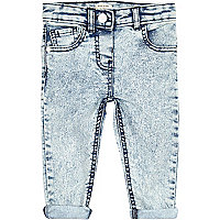 Mini girls light denim acid wash skinny jeans