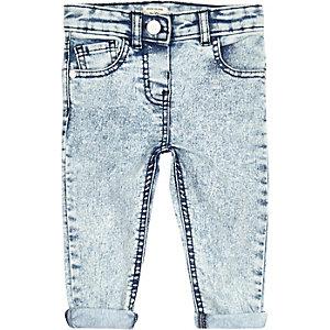 Mini girls light denim acid wash skinny jeans