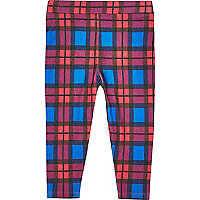 Mini girls blue check leggings