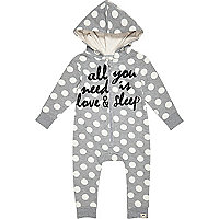 Mini girls grey spot print all in one