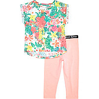 Mini girls coral floral tee with leggings