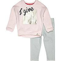Mini girls pink sweatshirt and leggings set