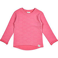 Mini girls pink quilted sweatshirt