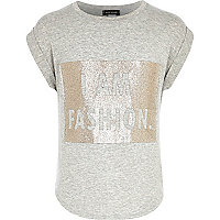 Girls grey I am fashion t-shirt