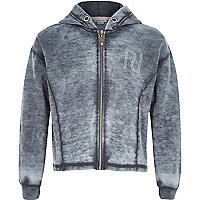 Girls grey burnout hoody