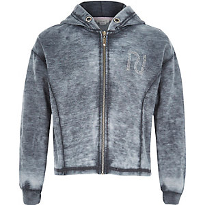 Girls grey burnout hoodie