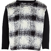 Girls black check faux fur sweatshirt